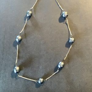 Silver faux pearl necklace 925
